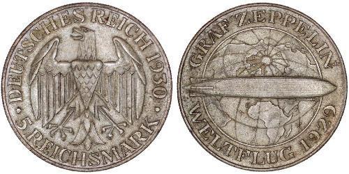 5 Reichsmark Weimarer Republik (1918-1933) Silber