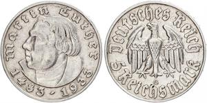 5 Reichsmark Nazi Germany (1933-1945) Silver Martin Luther