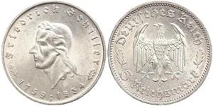 5 Reichsmark Nazi Germany (1933-1945) Silver Friedrich Schiller