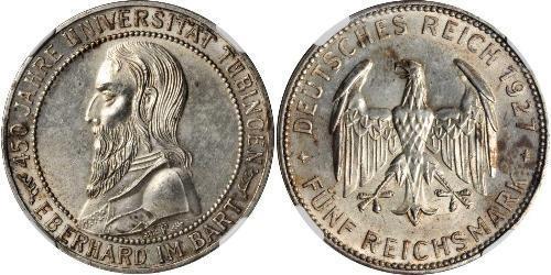 5 Reichsmark Weimar Republic (1918-1933) Silver Eberhard I, Count of Württemberg