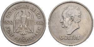 5 Reichsmark / 5 Марка Веймарская республика (1918-1933) Серебро