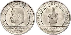 5 Reichsmark / 5 Марка Веймарская республика (1918-1933) Серебро Гинденбург, Пауль фон