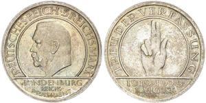 5 Reichsmark / 5 Марка Веймарська республіка (1918-1933) Срібло Пауль фон Гінденбург