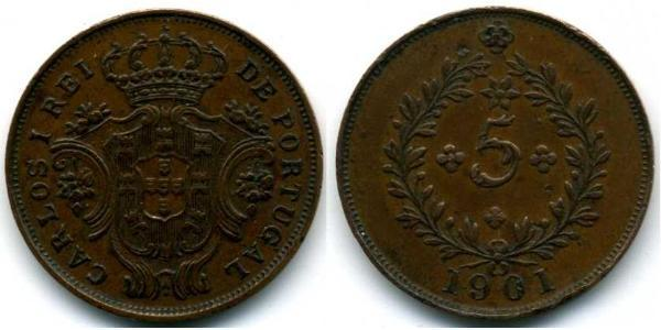 5 Reis Azores / Kingdom of Portugal (1139-1910) Copper