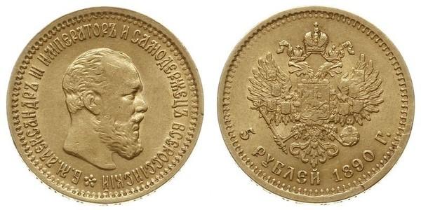 5 Rubel Russisches Reich (1720-1917) Gold Alejandro III (1845 -1894)