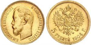 5 Ruble 俄罗斯帝国 (1721 - 1917) 金 尼古拉二世 (俄罗斯) (1868-1918)