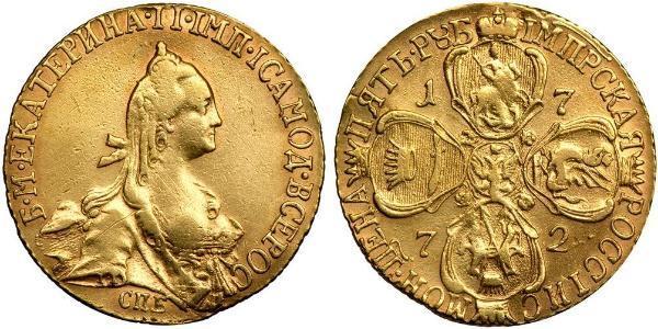 5 Ruble 俄罗斯帝国 (1721 - 1917) 金 叶卡捷琳娜二世 (1729-1796)