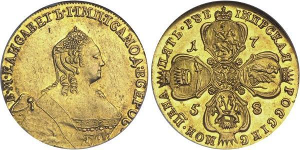 5 Ruble 俄罗斯帝国 (1721 - 1917) 金 Jelisaweta I Petrowna (1709-1762)