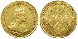 5 Rublo Imperio ruso (1720-1917) Oro Catalina II (1729-1796)