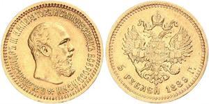 5 Rublo Impero russo (1720-1917) Oro Alessandro III (1845 -1894)
