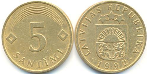 5 Santims Letonia (1991 - ) Cobre/Acero