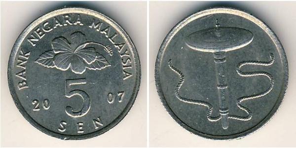 5 Sen Malasia (1957 - ) Níquel/Cobre