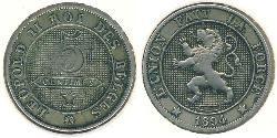5 Sent Belgium Copper/Nickel