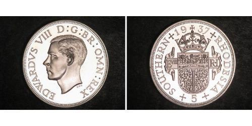 5 Shilling Southern Rhodesia (1923-1980) Plata Eduardo VIII (1894-1972)