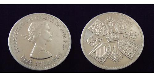 5 Shilling Regno Unito (1922-) Rame/Nichel Elisabetta II (1926-)