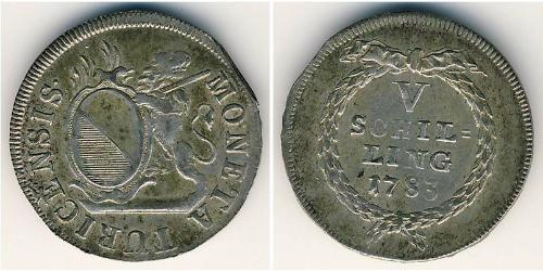 5 Shilling  Silver