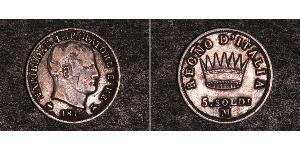5 Soldo Reino de Italia (1805–1814) Plata Napoleón Bonaparte(1769 - 1821)