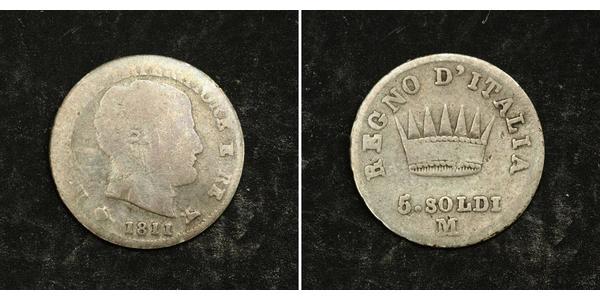 5 Soldo Königreich Italien (1805–1814) Silber Napoleon Bonaparte(1769 - 1821)