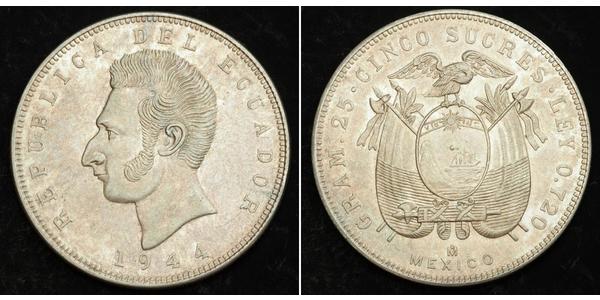 5 Sucre Ecuador 銀