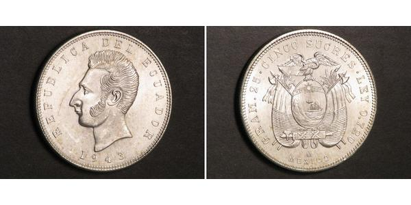 5 Sucre Ecuador Silver
