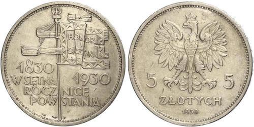 5 Zloty Segunda República Polaca (1918 - 1939) Plata