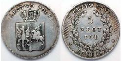 5 Zloty Kongresspolen (1815-1915) Silber