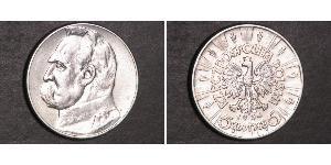 5 Zloty Second Polish Republic (1918 - 1939) Silver Józef Piłsudski