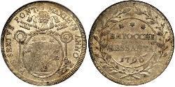 60 Baiocco Papal States (752-1870) Silver Pope Pius VI ( 1717-1799)