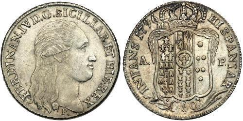 60 Grana Italian city-states Plata Ferdinand I of the Two Sicilies (1751 - 1825)