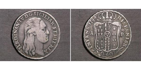 60 Grana Italian city-states Silver Ferdinand I of the Two Sicilies (1751 - 1825)