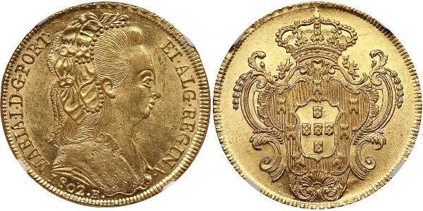 6400 Рейс Бразилия / Королевство Португалия (1139-1910) Золото Мария I королева Португалии (1734-1816)