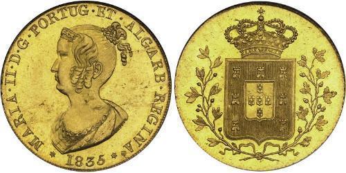 6400 Рейс Королевство Португалия (1139-1910) Золото Мария II королева Португалии (1819-1853)