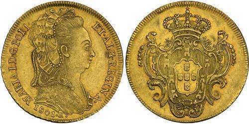 6400 Reis 巴西 / 葡萄牙王國 (1139 - 1910) 金 Maria I of Portugal (1734-1816)