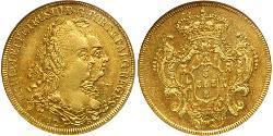 6400 Reis Brasilien Gold Peter III. von Portugal  (1717-1786)