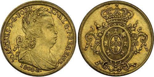 6400 Reis Brasil Oro Juan VI de Portugal (1767-1826)