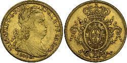 6400 Reis Brasile Oro Giovanni VI del Portogallo (1767-1826)