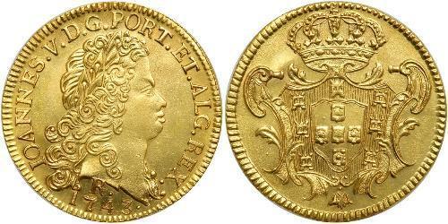 6400 Reis Brasile Oro Giovanni V del Portogallo (1689-1750)