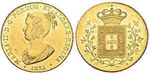 6400 Reis Regno del Portogallo (1139-1910) Oro Maria II del Portogallo (1819-1853)