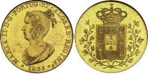 6400 Reis Reino de Portugal (1139-1910) Oro María II de Portugal (1819-1853)
