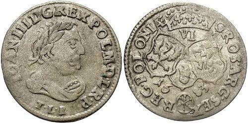 6 Грош Річ Посполита (1569-1795) Срібло Ян III Собеський (1629-1696)