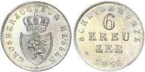 6 Крейцер Великое герцогство Гессен (1806 - 1918) Серебро Людвиг II (великий герцог Гессенский)