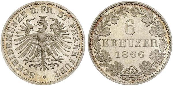 6 Крейцер Вольный город Франкфурт Серебро