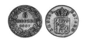 6 Крейцер Королевство Бавария (1806 - 1918) Серебро Людвиг I (король Баварии)(1786 – 1868)