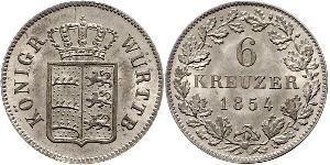 6 Крейцер Королевство Вюртемберг (1806-1918) Серебро