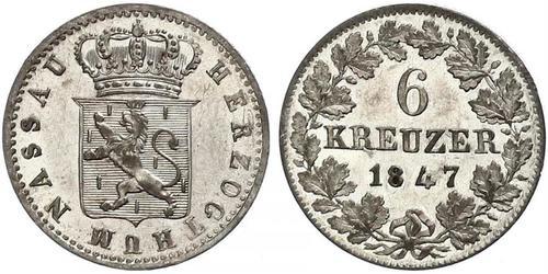 6 Крейцер Федеральные земли Германии / Нассау (герцогство) (1806 - 1866) Серебро Адольф (великий герцог Люксембургский)