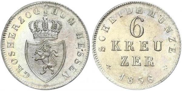 6 Крейцер Великое герцогство Гессен (1806 - 1918) Срібло Louis II, Grand Duke of Hesse