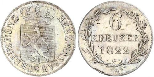 6 Крейцер Герцогство Нассау (1806 - 1866) Срібло Вільгельм (герцог Нассау)
