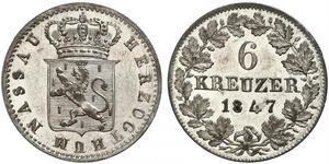 6 Крейцер Федеральні землі Німеччини / Герцогство Нассау (1806 - 1866) Срібло Адольф I (великий герцог Люксембургу)
