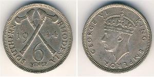 6 Пенни Южная Родезия (1923-1980) Никель/Медь Георг VI (1895-1952)
