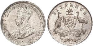 6 Пенни Австралия (1788 - 1939) Серебро Георг V (1865-1936)